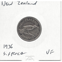 New Zealand 1936 Sixpence VF