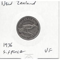 New Zealand 1936 Sixpence VF