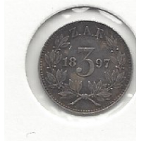 South Africa 1897 Threepence EF